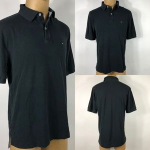 Tommy Hilfiger Classic Fit Black Polo Shirt SZ XL